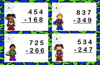 Subtraction 3 Digits with Regrouping Task Cards