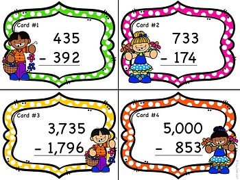 Subtraction - 3 and 4 digit Subtraction Task Cards - Spring Themed