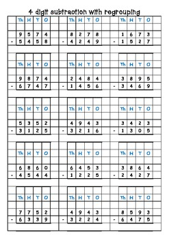 Subtraction 3 and 4 digit with/without trading/borrowing on grid paper