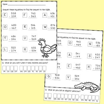 Subtraction Riddles -  3 digit numbers with regrouping