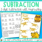 Three digit subtraction with regrouping Worksheets and Gam