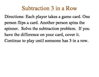 Subtraction 3 in a Row- First Grade