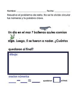 Subtraction word problems spanish/ problemas de resta escritos