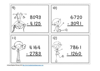 Subtraction 4 Digit Regrouping Task Cards