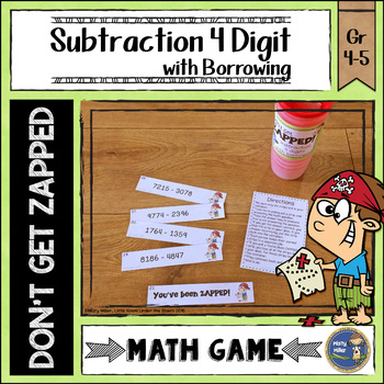 Subtraction 4 Digit with Borrowing Don't Get ZAPPED Math Game