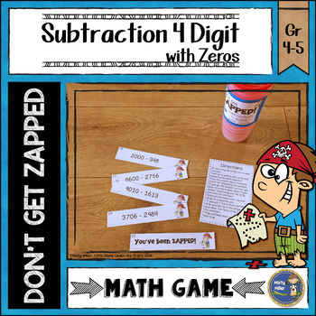 Subtraction 4 Digit with Zeros Don't Get ZAPPED Math Game