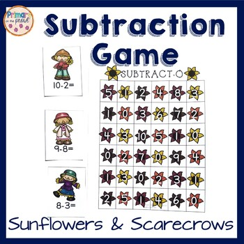 Subtraction Game- 4 in a row- Sunflowers and Scarecrows Theme
