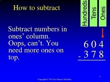 Common Core 3rd - Subtraction 5 - 3 Digits with Zeros on Top