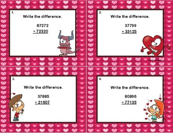 Subtraction -5-Digit Numbers-Some Regrouping-Valentine's