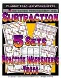 Subtraction Practice Worksheet Sets Grade 1 (1st Grade)/Grade 2 (2nd Grade)