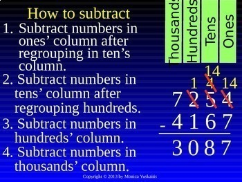 Common Core 3rd - Subtraction 7 - 4 Digits w Regrouping in Any Place Value