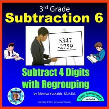 Common Core 3rd - Subtraction 7 - 4 Digits w Regrouping in