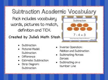 Subtraction Academic Vocabulary