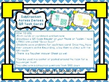 Subtraction Across Zereos QR Math Task Cards