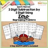 Subtraction Across Zero 3 Digit Pages: Sports Theme with 2-Step Problems