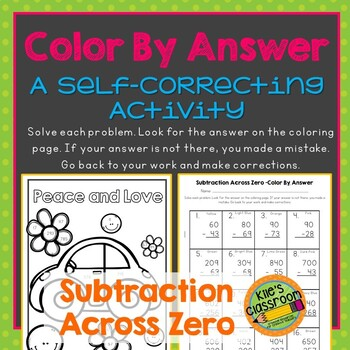 Subtraction Across Zero Color By Answer