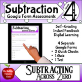 Subtraction Across Zero Google Form Assessments 4th grade