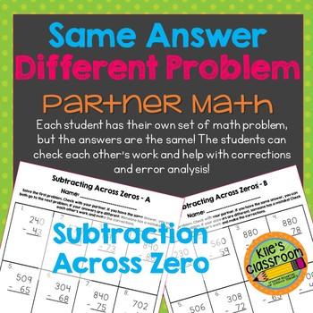 Subtraction Across Zero Partner Math Activity/Same Answer - Different Problem