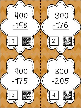 Subtraction Across Zeroes - 28 Task Cards with QR Codes for Self-Checking
