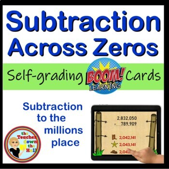Subtraction Across Zeros Boom Cards - 24 Self Checking Cards!