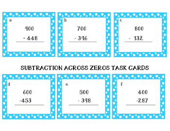 Subtraction Across Zeros Cards