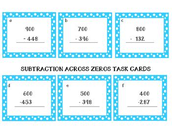 Subtraction Across Zeros Cards
