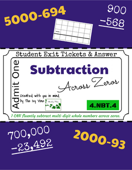 Subtraction Across Zeros - Exit Tickets & Answers - 4.NBT.4 - Grade 4