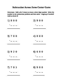 Subtraction Across Zeros Game