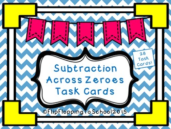 Subtraction Across Zeros Math Task Cards