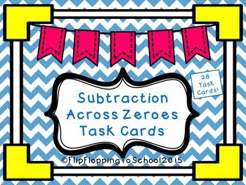 Subtraction Across Zeros Math Task Cards