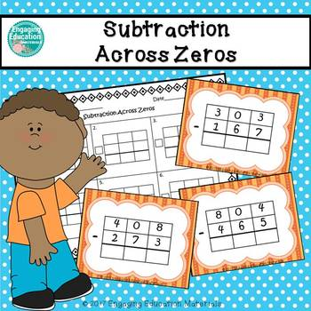 Subtraction Across Zeros Task Cards & Recording Sheet