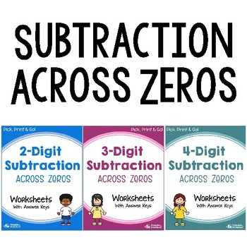 Subtraction Across Zeros Worksheets with Answer Keys, Subtracting Across Zeros