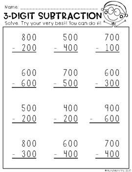 Subtraction Action {3-Digit Subtraction No Prep Practice Printables}