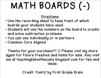Subtraction Action Math Boards