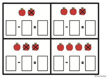Subtraction Activity Cards - Eat the Apples - Math Center