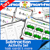 Subtraction Activity Set - Task Cards and more - Cars Theme