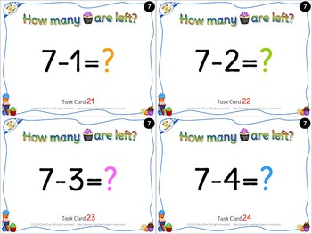 Subtraction Activity Set - Task Cards and more - Cupcake Theme