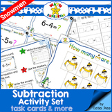 Subtraction Activity Set - Task Cards and more - Snowman Theme