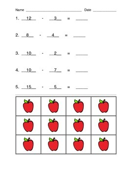 Subtraction Activity with Apple Manipulative