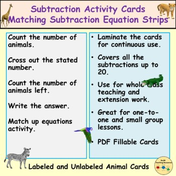Subtraction Animal Activity Cards/Task Cards up to 20