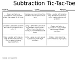 Subtraction Assessment Choice Board
