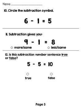 Subtraction Assessment / Test