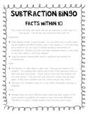 Subtraction BINGO - Facts within 10