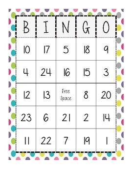 Subtraction BINGO with 20 different BINGO cards