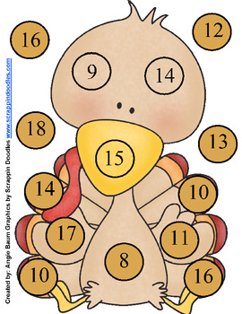 Subtraction BUMP Turkey Theme Subtract from 20