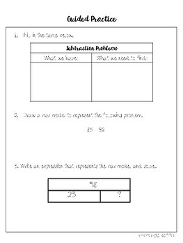Subtraction Bar Models Mini Lesson Packet