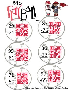 Subtraction Baseball - QR Subtraction of two digits NO regrouping