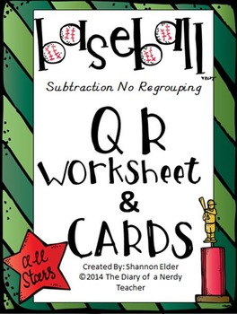 Subtraction Baseball - QR Subtraction of two digits NO regrouping BUNDLE