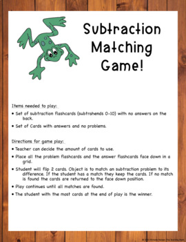 Subtraction Basic Facts Matching Game