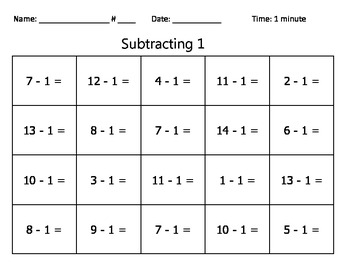 Subtraction Basic Facts Quizzes